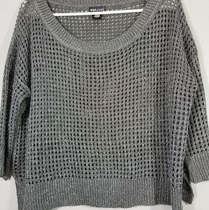 Wetseal Women's Gray Crochet Top Sweater Size L